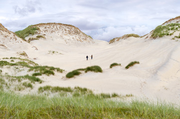 impressive sand dunes, tall grass and couple exploring the area