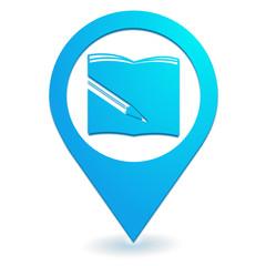 fournitures scolaires sur symbole localisation bleu