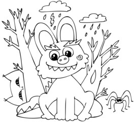 Coloring Halloween bunny-monster