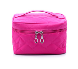 Makeup pink bag isolated white background
