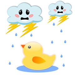Paperella sotto la pioggia