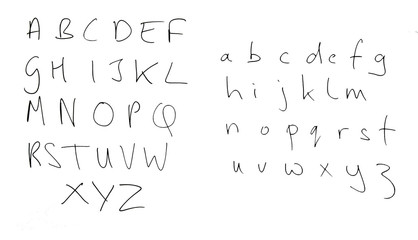Real handwriting, rather untidy alphabet letters isolated