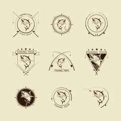 vector fishing symbol set