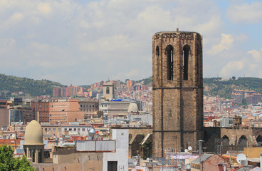 City and belltower. Barcelona, Spain