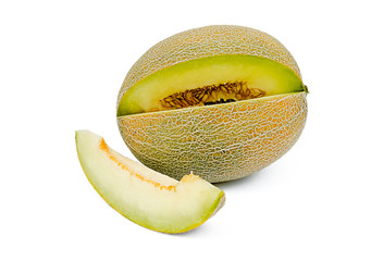 the cut melon on a white background