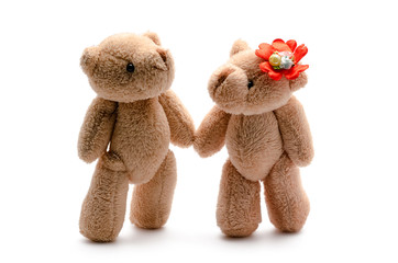 two toy bears lovers on a white background