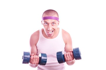 Nerd guy with dumbbells
