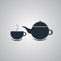 Teapot and cup of tea.Vector illustration