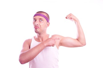 Macho nerd shows muscles