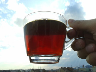 Drinking black tea at sunset