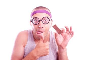 Nerd with yummy chocolate