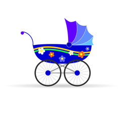 baby carriage in blue color vector illustration