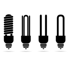 ecology light bulb black vector silhouette