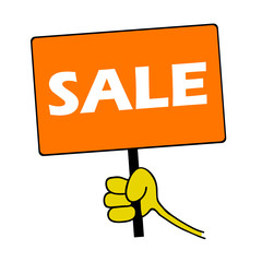 hand holding orange board with sale message