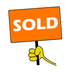 hand holding orange board with sold message