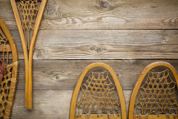 wooden snowshoes abstract