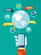 Go green global mobile app concept illustration