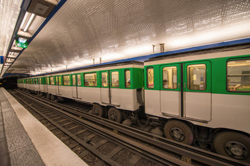 Metro train in Paris. Underground parisian scene - France