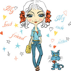 Pretty fashion girl with bows, bag and with cute kitten