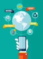 Go green global mobile app concept illustration