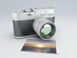 retro camera with Photos 3d