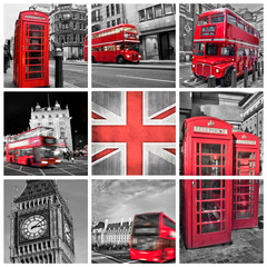 London photos collage, selective color