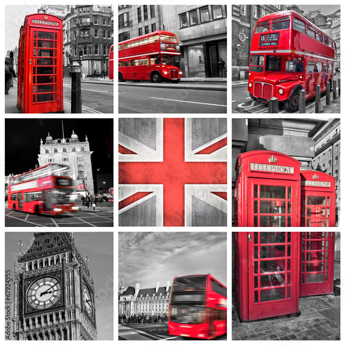 London London photos collage, selective color