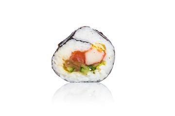 Traditional fresh japanese sushi on white background.