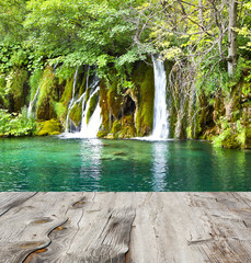 waterfall and wood pier