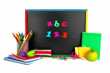 ABC 123 letters on a blackboard with school supplies