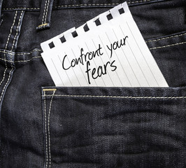 Confront your Fears written on a peace
