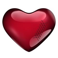 Groot rood hart met hechtingen