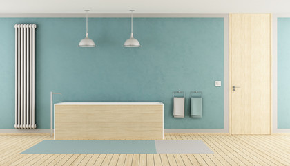Minimalist blue bathroom