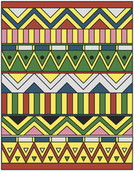 Egyptian ornament of colored lines, rectangles and triangles