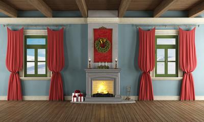 Luxury living room with xmas decor
