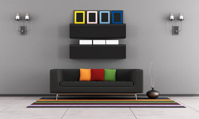 Contemporary living room with black couch