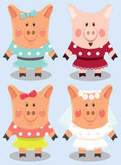set of cartoon female pigs