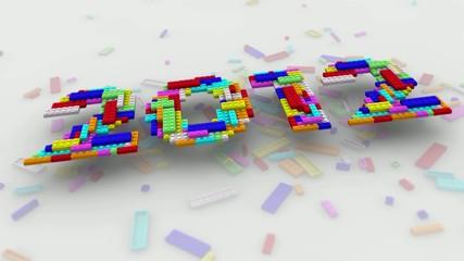 落下する2012のおもちゃのブロック
