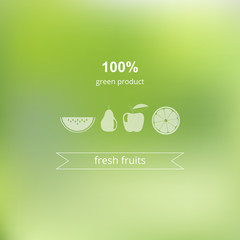 Vector blurred background. Green, organic product. Ecology label