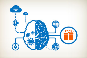 Gift box and abstract human brain