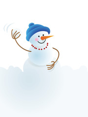 Christmas snowman and snowball