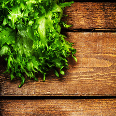 Bunch of Fitness Salad on wooden background.  Diet Food and heal