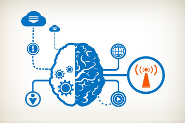 Wi fi and abstract human brain