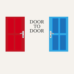 door to door vector graphic