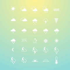 Weather icons. Set of symbols for widgets, sites, apps