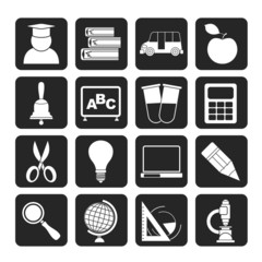 Silhouette education and school icons
