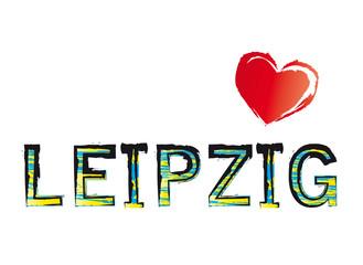 Schriftzug Leipzig mit Herz