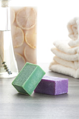 Green and purple soaps