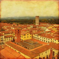 Grunge image of Lucca.Tuscany. Italy.