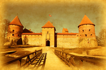 Grunge image of Trakai castle. Lithuania.